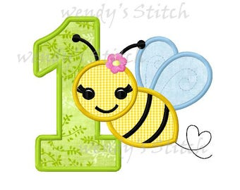 Girly bee applique birthday number 1 machine embroidery design instant download