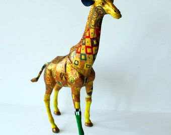 Original Hand-painted Giraffe Statuette - Inspired by Gustav Klimt
