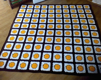 HandMade throw Blanket, 61x60, granny square, white ,brown, yellow