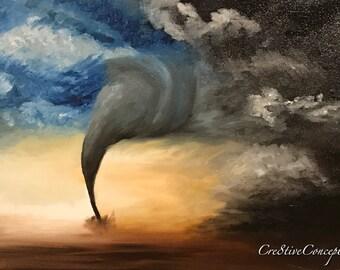 Beautiful Dark Tornado Storm Fine Art Giclee Print on Canvas Wall Art Wall Decor
