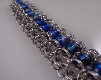 Blue Channel Chainmaille Bracelet, Chainmail Bracelet, Chain Mail Bracelet, Channel Chain Maille Bracelet