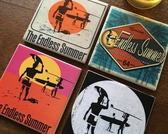 Ceramic Tile Coasters - Endless Summer Vintage Set