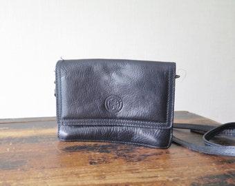 Vintage Leather Handbag Genuine Leather Black Shoulder Crossover Bag Long Strap Belt Bag Swedish Scandinavian @206