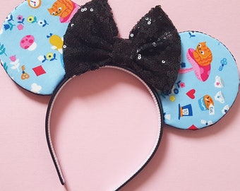 Alice in Wonderland Mouse Ears    Minnie Ears    Alice Mouse Ears    Mouse Ears Headband    Minnie Mouse Ears    Sparkle Mouse Ears    RTS