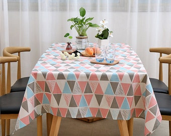 Tablecloth, Cream Triangle Linen Cotton Tablecloth, Bright Decorative  Dining Room Daily Kintchen Overlay,