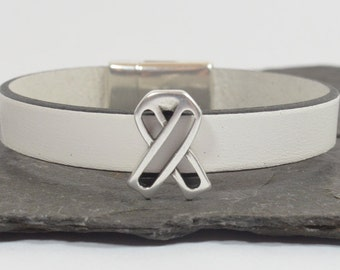 Lung Cancer Awareness Bracelet - White 10mm Flat European Leather with Open Awareness Slider and Magnetic Clasp (RA-130)