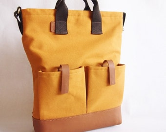 Canvas Leather Tote/ Sling bag/ Laptop/ Business Bag in Mustard with Leather Base and Shoulder Pad