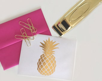 Gold Foil Pineapple Note Cards | Pineapple Thank You Notes | Gold Foil Print | Pineapple note card | Gold Pineapple | Pineapple Stationery