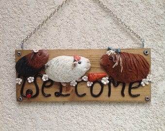 Guinea pigs welcome sign