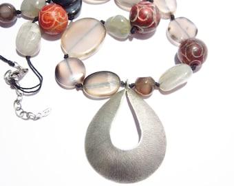 Vintage Peyote Bird Multi Stone Sterling Pendant Necklace