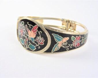Vintage Cloisonne Butterfly Clamper Bracelet