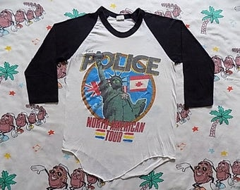 Vintage 80's The Police Synchronicity North American Tour raglan Baseball T shirt, size Small 1983 concert tee