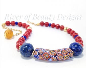 African Trade Bead Chunky Necklace, Red Blue Chunky Choker, Coral and Lapis Lazuli Statement Necklace, River of Beauty Designs
