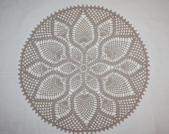 Large Beige Crochet Doily, Large Lace Doily, Pineapple Doily, Cotton Lace Tablecloth, Table Topper, 15 inches