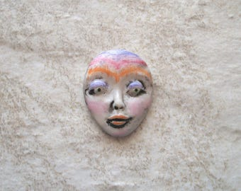 "OTHER WORLDLY - Polymer Clay Cabochon,OOAK,Flat back bead,1 1/8"" by 7/8"",supply,purple,orange,red,pink,focal,no hole,art doll,jewelry"