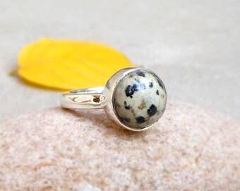925 Solid Silver Dalmatian Jasper Ring cabochon ring dalmatian Ring Gift for Mom black spotted Ring unique Jasper Ring Sz 4 5 6 7 8 9 10 11