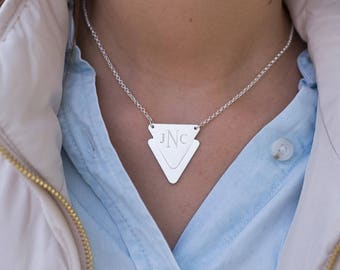 Engraved Double Triangle Necklace