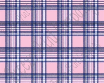 Light pink, white and navy tartan plaid craft  vinyl sheet - HTV or Adhesive Vinyl -  HTV1831