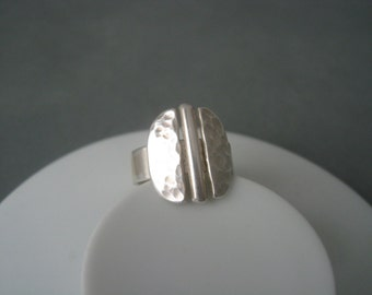 Large and heavy modernist sterling silver ring.