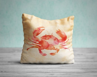 Crab Pillow, Crab Cushion, Crab Throw Pillow, Coastal Decor, Beach House Decor, Sealife Pillow, Crab Pillow Case, Crab Pillow Cover, Nursery