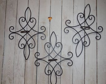 Wrought iron sconces, set of three wall sconces, candle holders.
