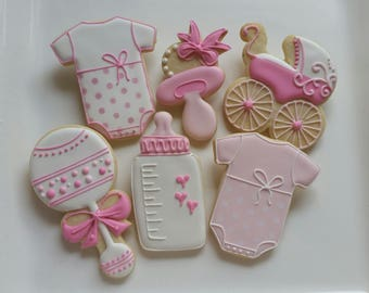1 DOZEN Decorated Cookies - Baby Shower Little Girl Boy Stroller Onesies Party Favors Custom Rattle