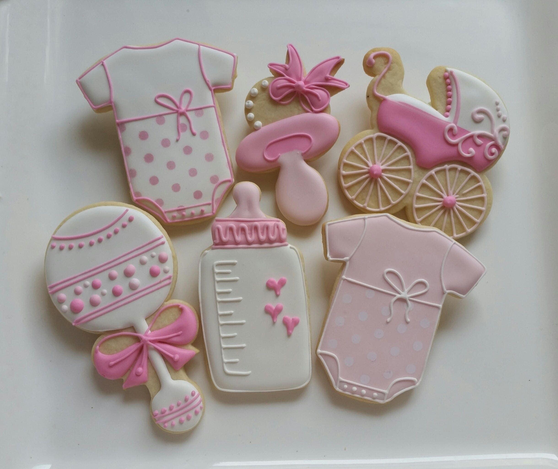 Baby Shower Gifts Little Girl ~ Dozen decorated cookies baby shower little girl boy