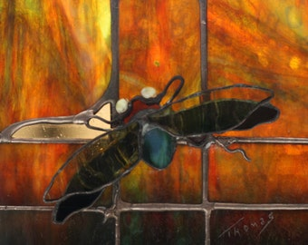 Dramatic Stained Glass Panel: Insect on Evening Window