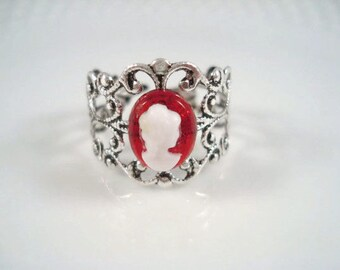 Cameo Ring Adjustable Silver Filigree