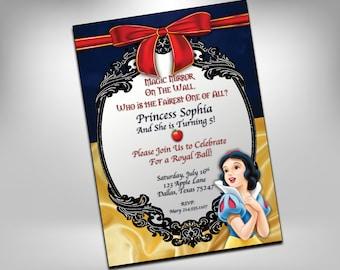 Snow White Birthday Invitation, Snow White Birthday, Princess, Kid Invitation, Printable