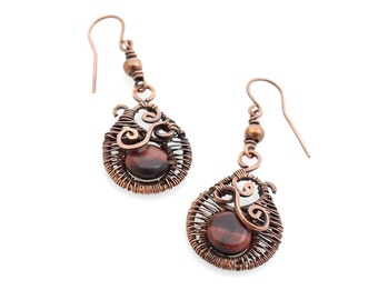 Red Tiger Eye Copper Earrings, Bohemian Statement Jewelry, Whimsical Wire Wrap, Artisan Made Unique Design