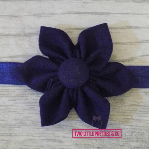 Large Navy blue Fabric Flower Headband | Baby Girl | Hand Sewn