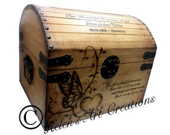Large Card Chest, Memorial Keepsake Chest, Butterfly Chest, Engraved Chest, Wedding Card Chest, Custom Keepsake Box, Heirloom, Time Capsule