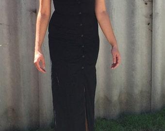 Black shirt dress maxi