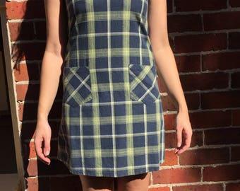 90s plaid pinafore dress