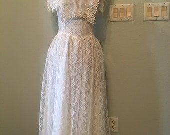 Vintage White Gunne Sax Dress, lace wedding Dress, Boho Prairie Dress, 70s 80s drop waist White Dress, Spring Dress, Prom Dress