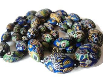 1920's Matte Milifiori Venetian Glass Bead Necklace Rare Moretti Rooster Cane Bead