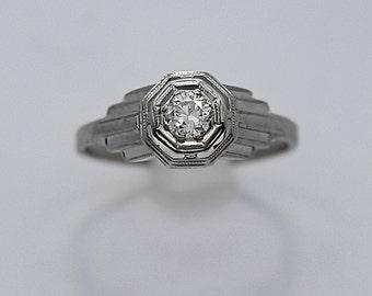 Art Deco .25ct. Diamond Antique Engagement Ring 18K White Gold - J36351