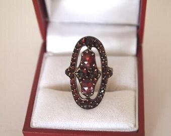 Antique Garnet Ring Rhodolite Garnet Bohemian Oval Czech