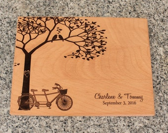 Personalized Cutting board Tandem Bike Bridal Shower Gift Wedding Gift for couple Engraved Bike for Two Custom Engraved Gift for Her
