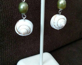 Fresh Water Pearls and Shell Earrings