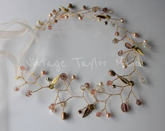 Gold Wedding Hair Vine Pink Champagne Crystal Faux Pearl Beaded Bridal Vintage Headpiece Headdress Accessory