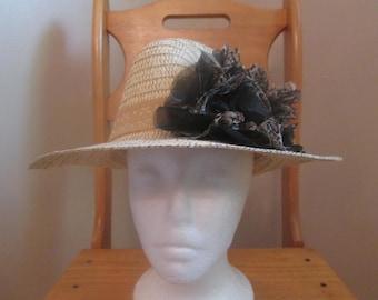 LADIES STRAW HAT, easter bonnet, summer hat, spring hat, dress hat, fancy straw hat, dressy hat, chruch hat, straw floral hat, flower hat