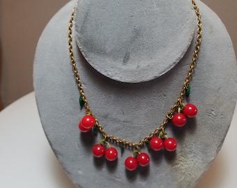 FREE  SHIPPING   Bakelite Cherries  Necklace