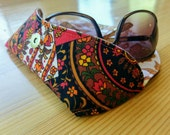 Funky Glasses Case, vintage fabric case, retro glasses case, orange glasses case, floral glasses case, brown glasses case