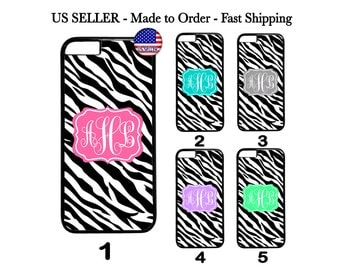 Custom Personalized Zebra Name Teal Grey Pink Hard Case for iPhone 4 5 5c SE 6 7 Plus  Galaxy S3 S4 S5 S6 S7 S8 Edge Note 2 3 4 5 iPod Touch