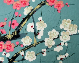 Fabric,  Golden Garden in Teal , Japanese Blossoms, Alexander Henry Asian Indochine, By The Yard