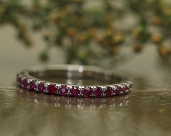 Ruby Wedding Band in White Gold, Round Brilliant Cut, Shared Prong Set, 3/4 Eternity Style, Classic Design, Free Shipping, Adeline B
