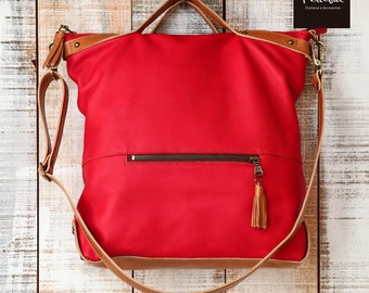 Leather zipper tote, Everyday bag, Crossbody bags for women, Shopper, Red purse