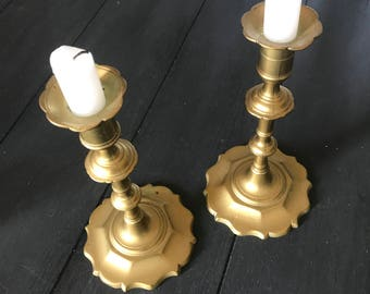 Intricate brass candlestick holders